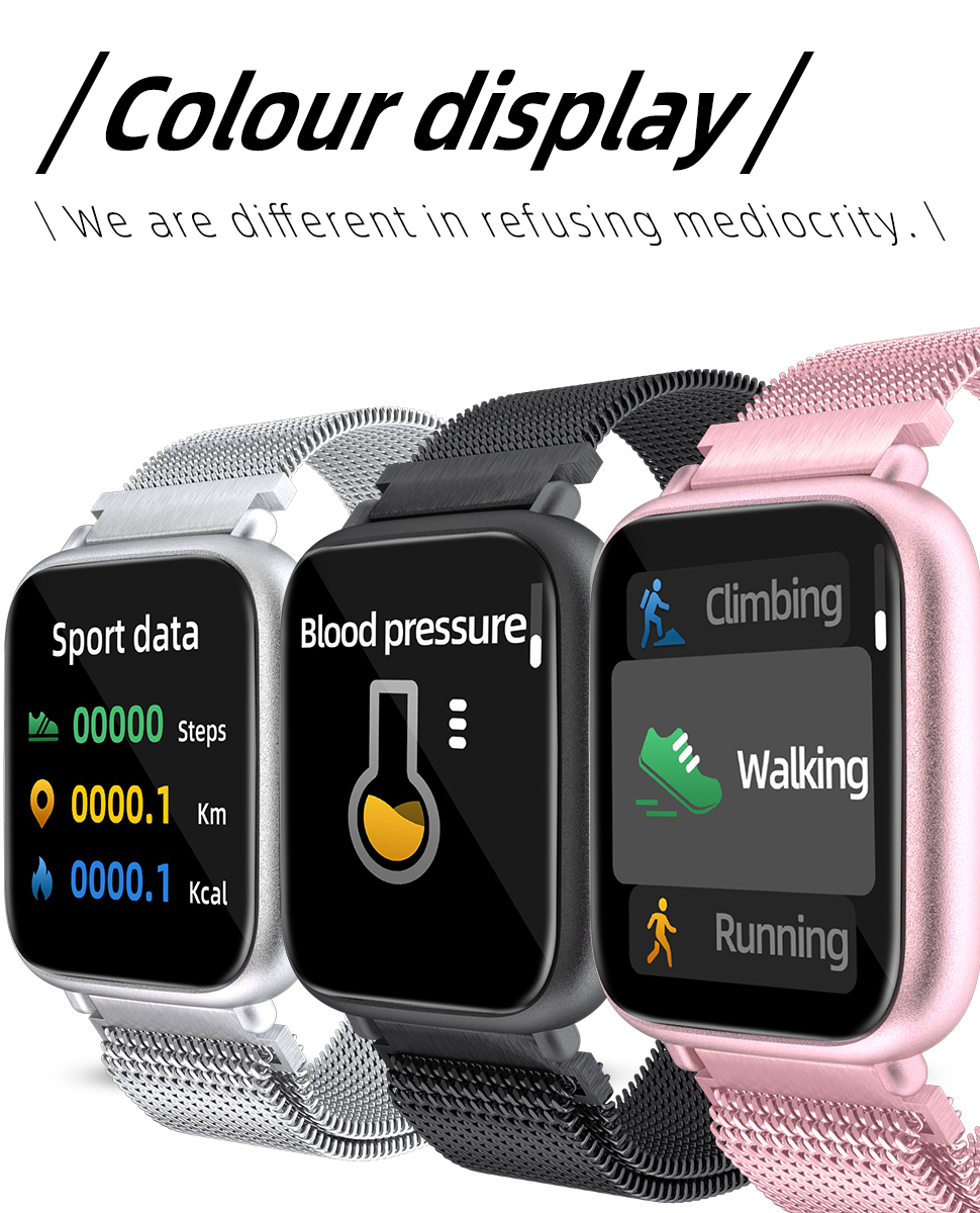Q1 Smart Watch Heart Rate Fitness Tracker 1.3inch Full Touch Screen Smart Bracelet with 2 straps