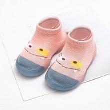 Детская нескользящая обувь хлопковые нескользящие носки-тапочки для новорожденных девочек домашние носки с резиновой подошвой для малень...(China)