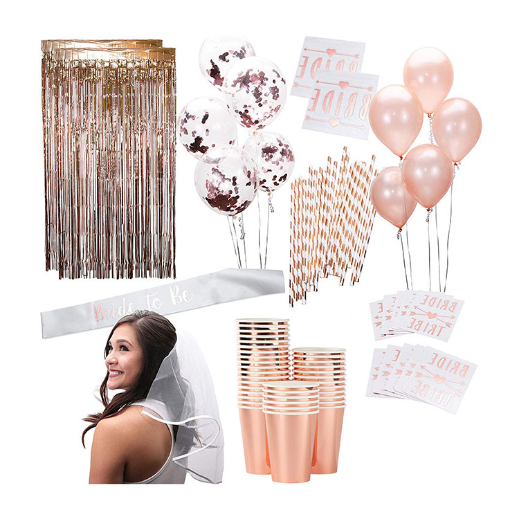 Nicro 58 PCS Rose Gold Bachelorette Bridal To Be Shower Kit Supplies Wedding Event Party Decoration