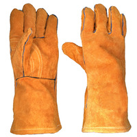 Cowhide split Leather Thumb Crotch Reinforced Fleece Lining Heat Resistant Welding Safety Work Gloves