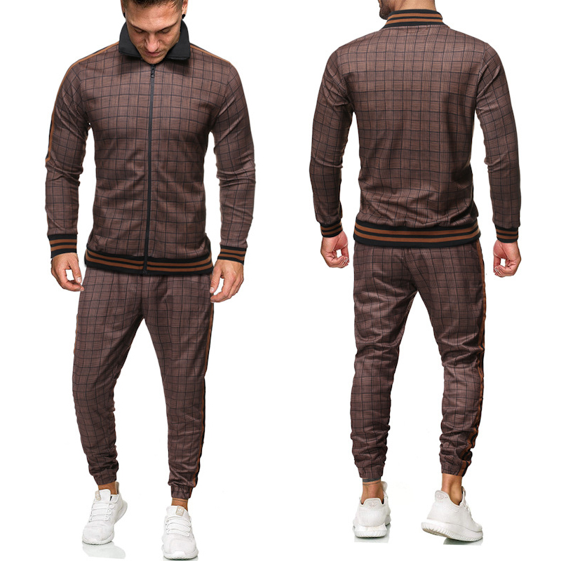 New Colorful Plaid Casual Zipper Set Autumn Tracksuit Set Male Sweatshirt Pocket Fashion Jackets Men Tracksuit Sets