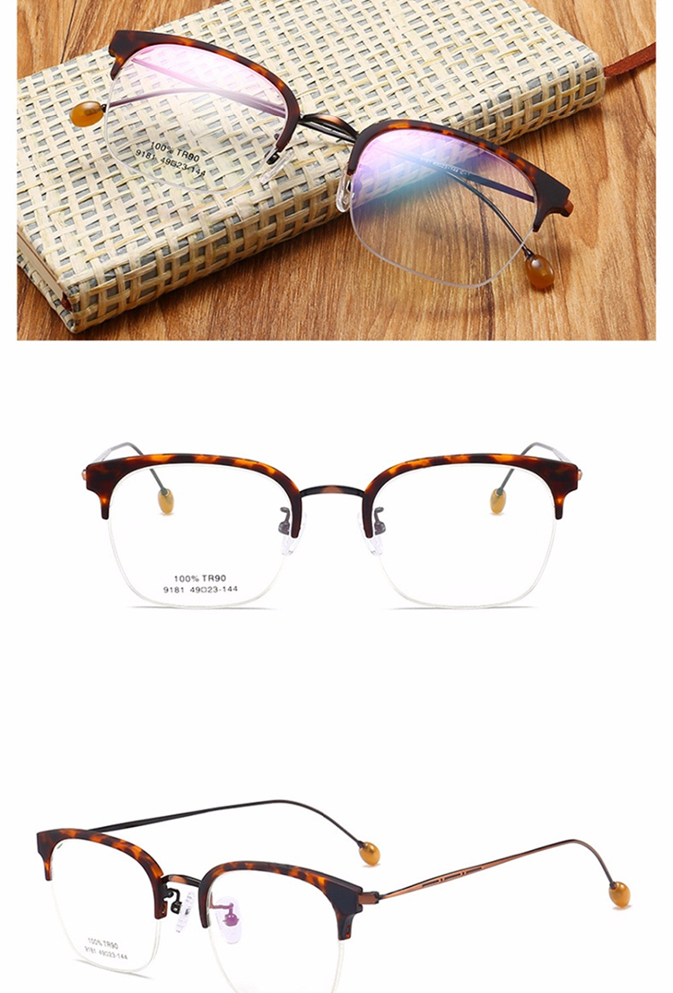 Brand Design Half Rim Eyeglasses Women Men's Fashion Optical Frames Clear Lenses TR90 Alloy Glasses Ready Stock