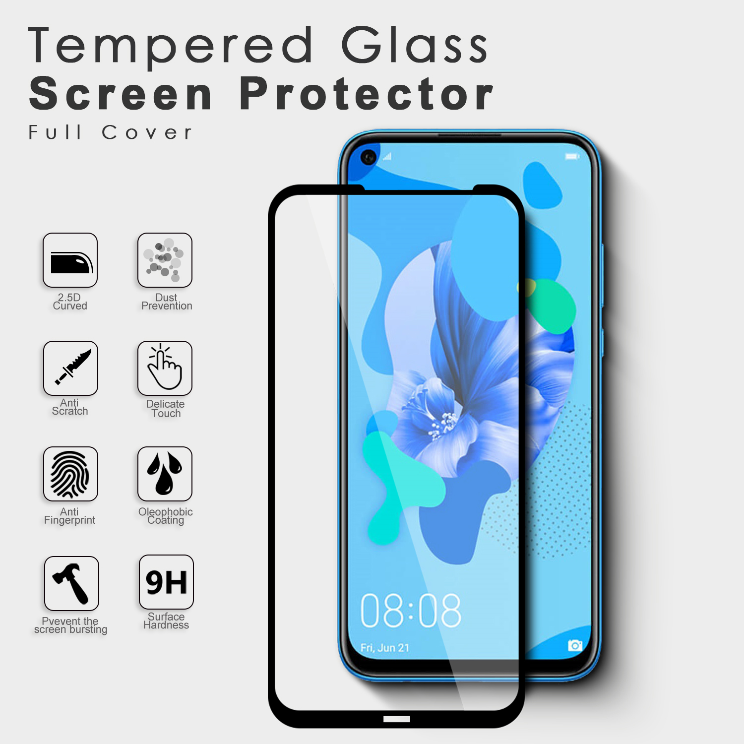 Manufacturing Price Full Cover Screen Protector Tempered Glass For Huawei P20 Lite screen protector