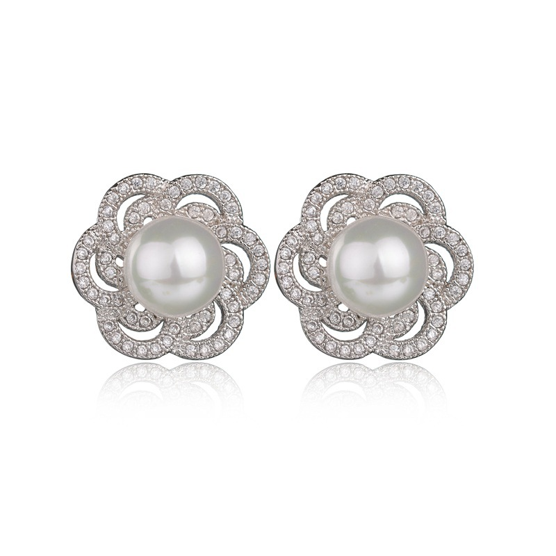 New year gift Fashion flower stud earring statement jewelry pendientes aros with <strong>clear</strong> <strong>crystal</strong> and simulated white pearl earings