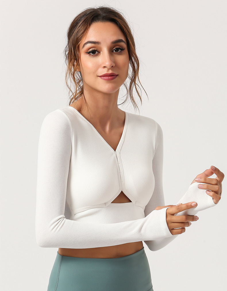 Custom Logo Women High Elastic Gym Wear Long Sleeve Crop Top Sports Top Running Shirt With Thumb Holes 2
