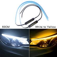 2x ультратонкие DRL светодиодный дневные ходовые огни динамический сигнал поворота желтая направляющая полоса для фар в сборе автомобильные ...(Китай)