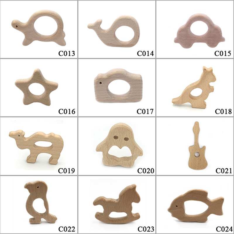 New Safety Multi Shapes Natural Beech Wooden Baby Teether