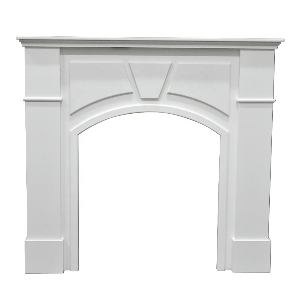 French Country Style White Decorative Wood Fireplace, Vintage Wood Fireplace Mantle