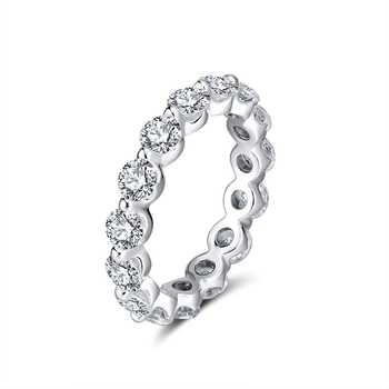 RINNTIN SR189 wholesale Hot Sale silver Eternity Diamond Ring Full Round Cubic Zircon Rings for women