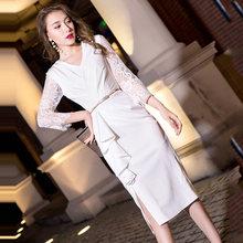 Белые платья для выпускного вечера It's Yiiya AR301 с v-образным вырезом Vestidos De Fiesta Elegante Обтягивающее Платье До Колена с рукавом три четверти 2020(Китай)