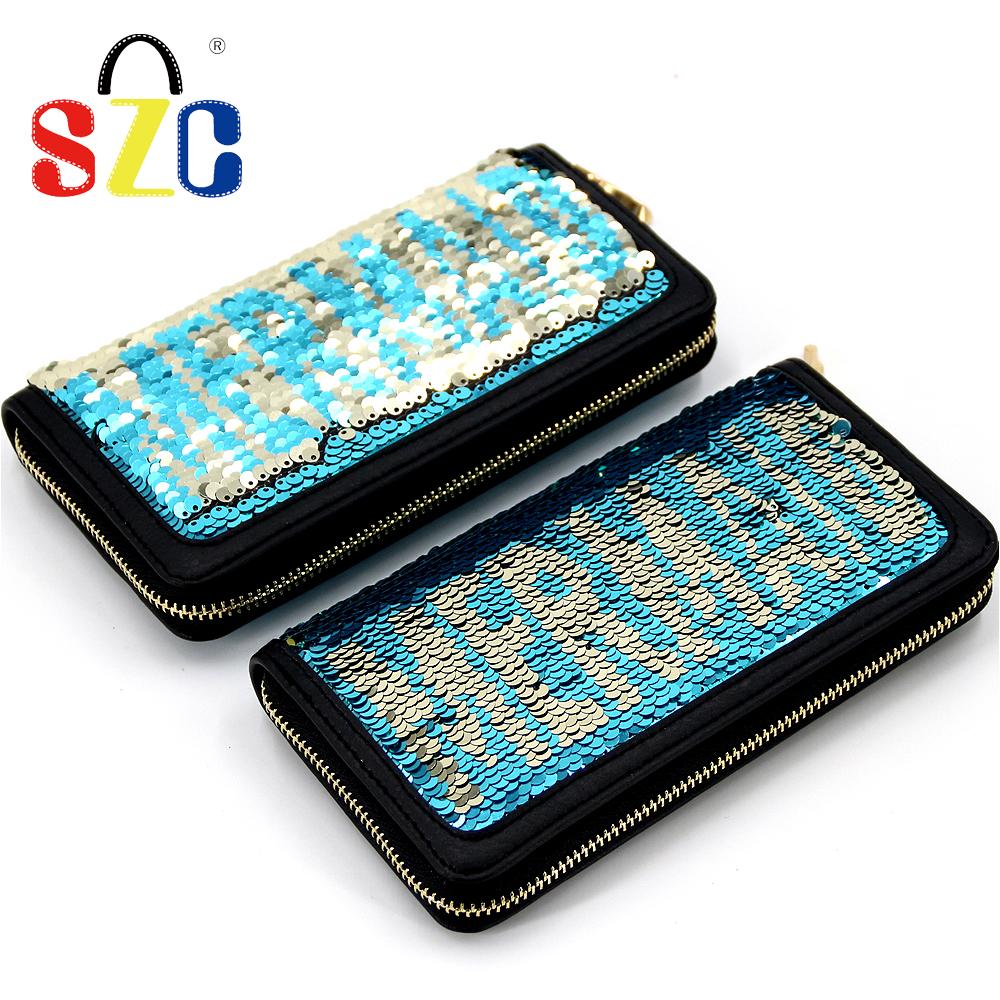 긴 지갑 지퍼 휴대용 스팽글 지갑 반짝이 귀여운 포켓 소녀 지갑 패션 신용 카드 가방