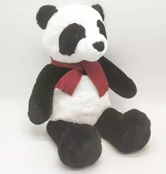 New Design Very Soft Real Looking Stuffed Plush Panda Animals With Red Scarf Bear