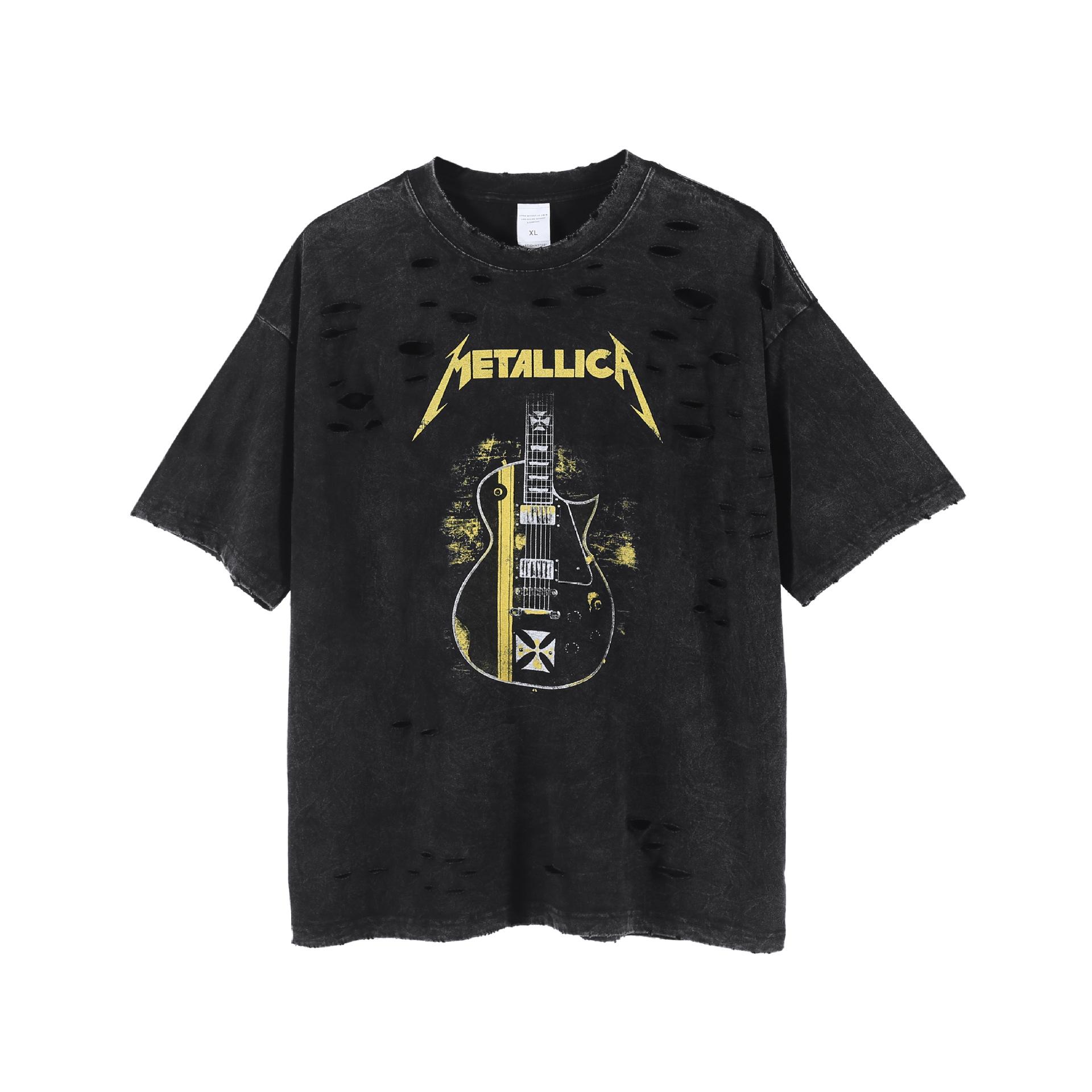 Retro Cut Band Dark High Street Printed Short Sleeve T-shirt