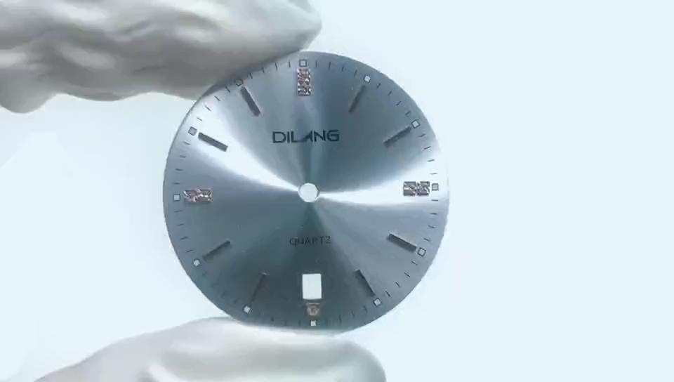 OEM 샴페인 Sunray 시계 부품 맞춤 달력 창 시계 다이얼 스톤