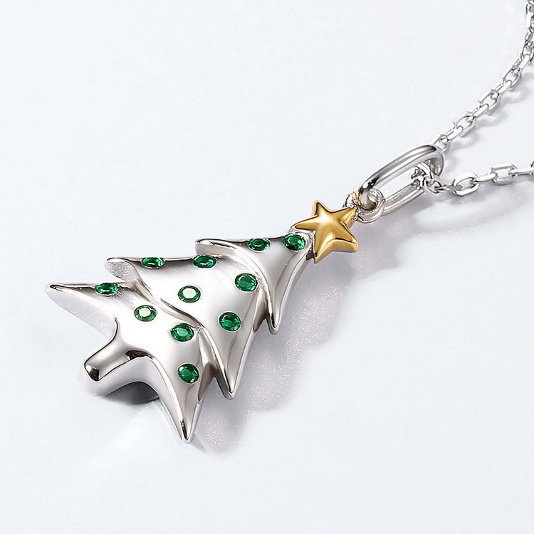 Lovely Present Heavy Gold 925 Sterling Silver Christmas Gift Tree Pendant With Nano Zircon