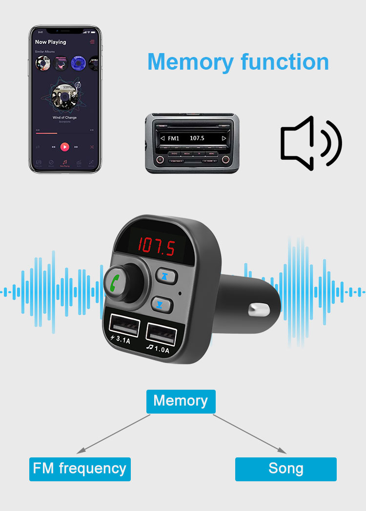 Multi function bluetooth fm transmitter Dual 3.1 USB Ports with quick charge support Bluetooth USB TF Card