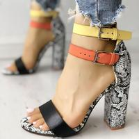 Women's Ladies Fashion Mixed Colors High Heels Buckle Sandals Casual Shoes Summer Sandals