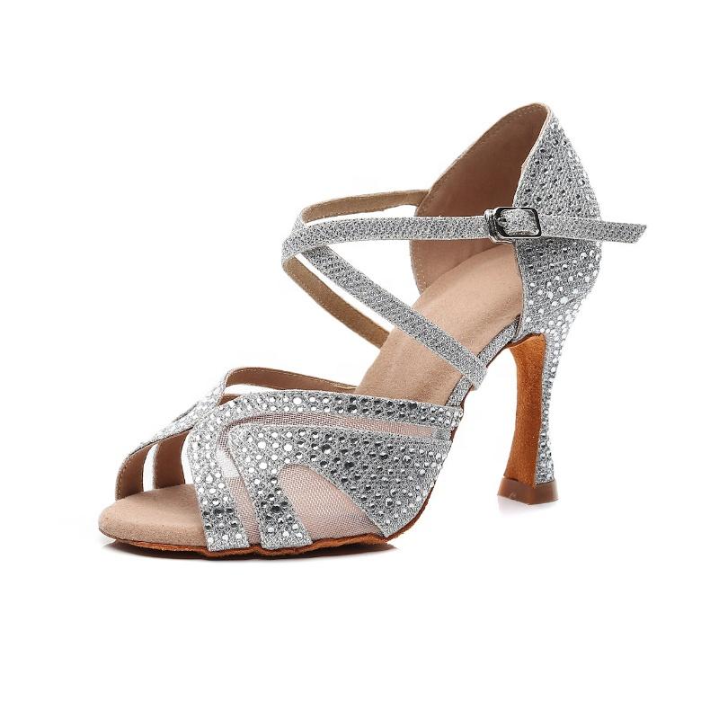 Atacado fábrica de strass Brilhante exótico Sapatos de Dança Latina de Salão Tango