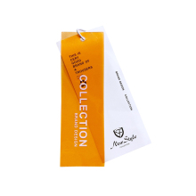 Custom tags designer orange PVC papier hangtag mit string schleife