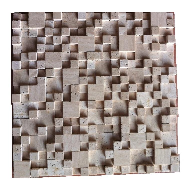 OYMT-006 наружный 3D куб камень бежевый мрамор мозаика