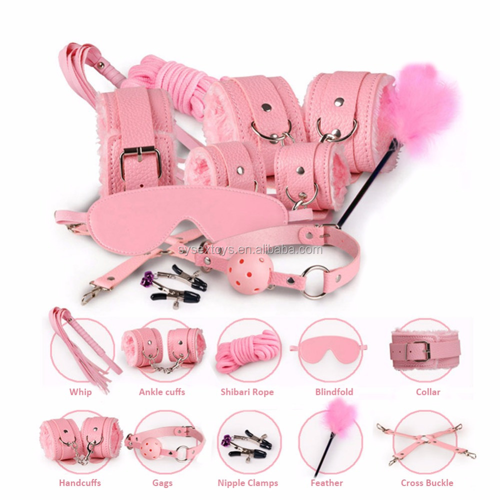 10Pcs/set Erotic Toys Adults BDSM Sex Bondage Set Handcuffs Nipple Clamps Gag Whip Rope Sex Toys For Couples