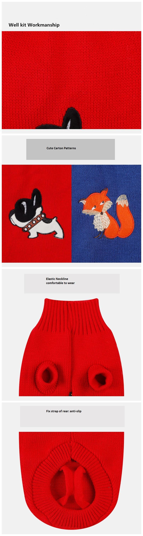 Милый пуловер, свитер для собак, мультяшный комплект для домашних животных с вышивкой, одежда для домашних животных, свитер для собак, щенков, котят, кошек, классический красный, синий