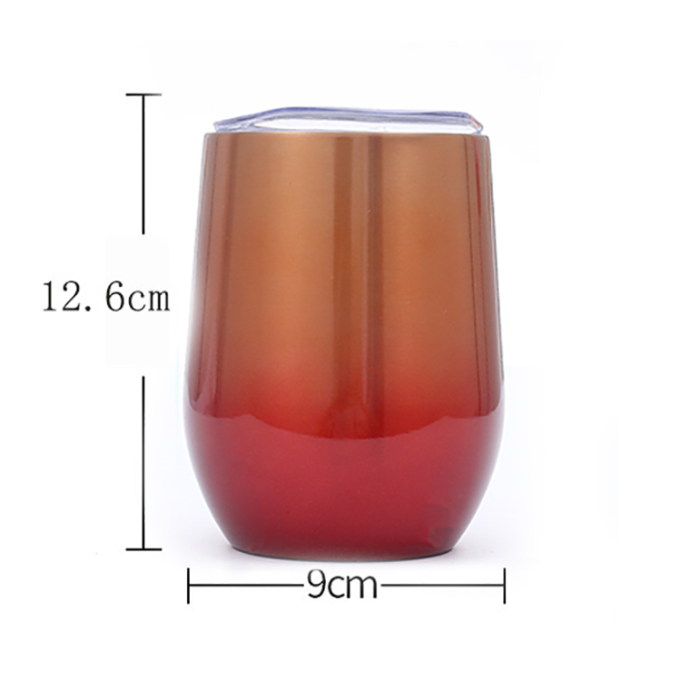 Promotional beautiful custom double layer Stainless Steel Stemless gradient  Wine Tumbler