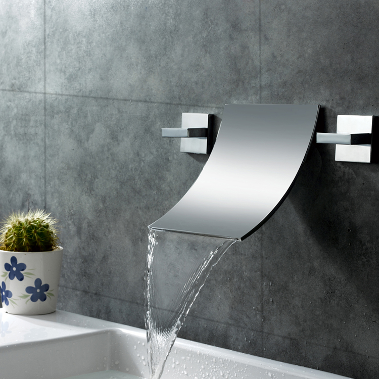 Luxury bathroom design 2 handles waterfall faucet chrome,brass basin faucet,wall mount basin faucet MLFALLS