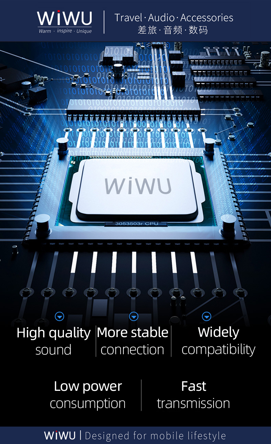 WIWU Wholesale Lighting USB Audio Adapter Earphones Splitter Double Jack Aux Audio Adapter for i Phone