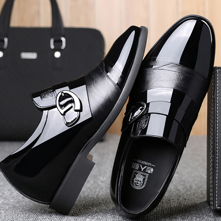 Best quality fashion slip-on mens brands leather western business dress heightening shoes