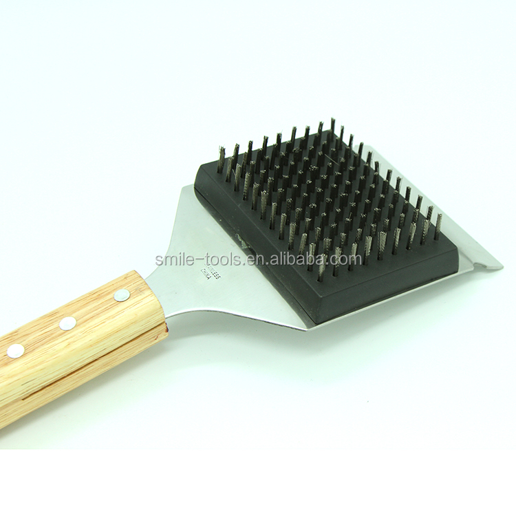 Wood Handle BBQ Cleaning Grill Brush and Scraper Safe BBQ for Gas Infrared Charcoal Porcelain Grills