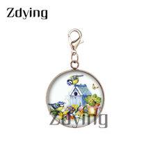 Zdying хит продаж цветы птицы из нержавеющей стали амулеты стеклянный кабошон с фото кулон для брелока сумка аксессуары BF015(Китай)