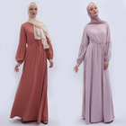 High quality solid color women's muslim abaya national style lantern sleeves dress