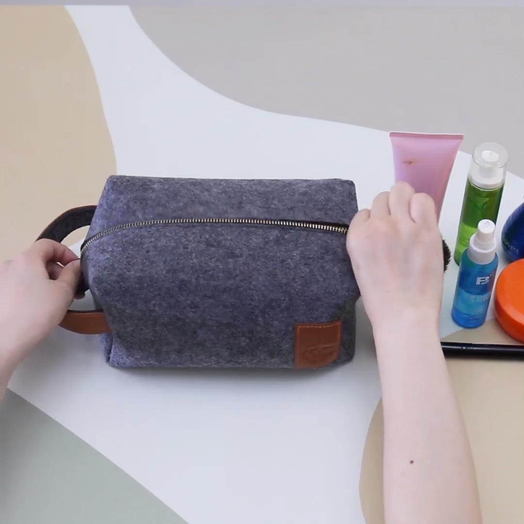 Papà regalo personalizzato eco friendly logo feltro cassa di matita all'ingrosso dopp kit da viaggio cosmetici appeso uomini borsa da toilette