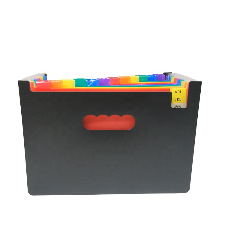 12 Pockets Expanding Files Folder A4 Expandable File Organizer Portable Accordion File Folder High Capacity Multicolour Stand