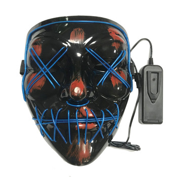 Factory price Halloween party Cosplay Glow Led Rave el face movie The Purge Mask