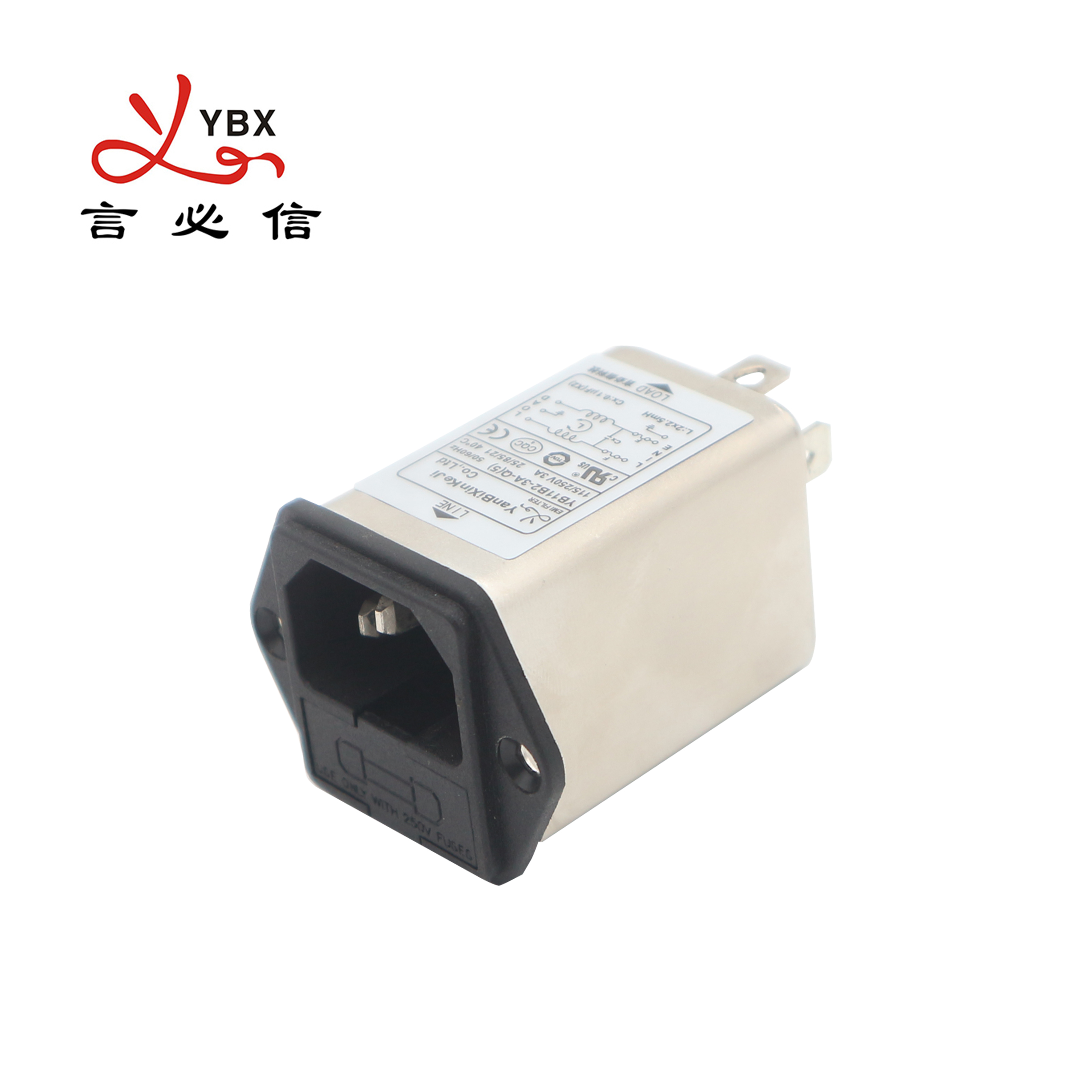Yanbixin YB11B2 - 3A - Q double fuse inlet ac power line filter,1 - 10A, 5x20mm