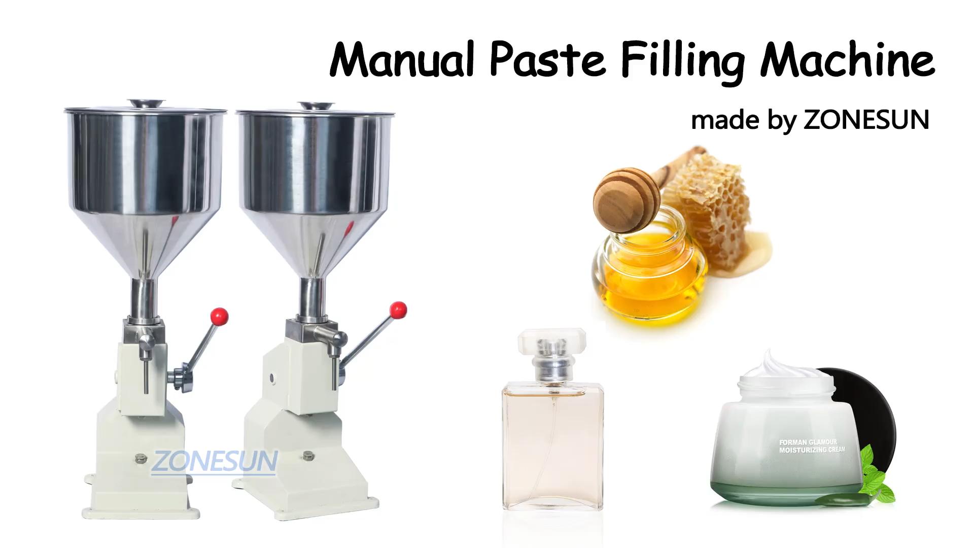 ZONESUN A03คู่มือการใช้งาน Paste น้ำผึ้ง Liquid Filling Machine ครีมขวด Filler ซอส Jam เล็บ5-50Ml อาหาร