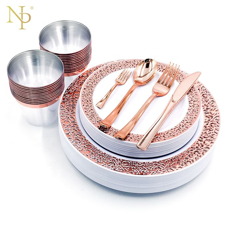 Nicro 175 Pcs New Product Hot Stamp Hard Luxury Wedding Party Rose Gold Rim Fancy Disposable Plastic Plates Set