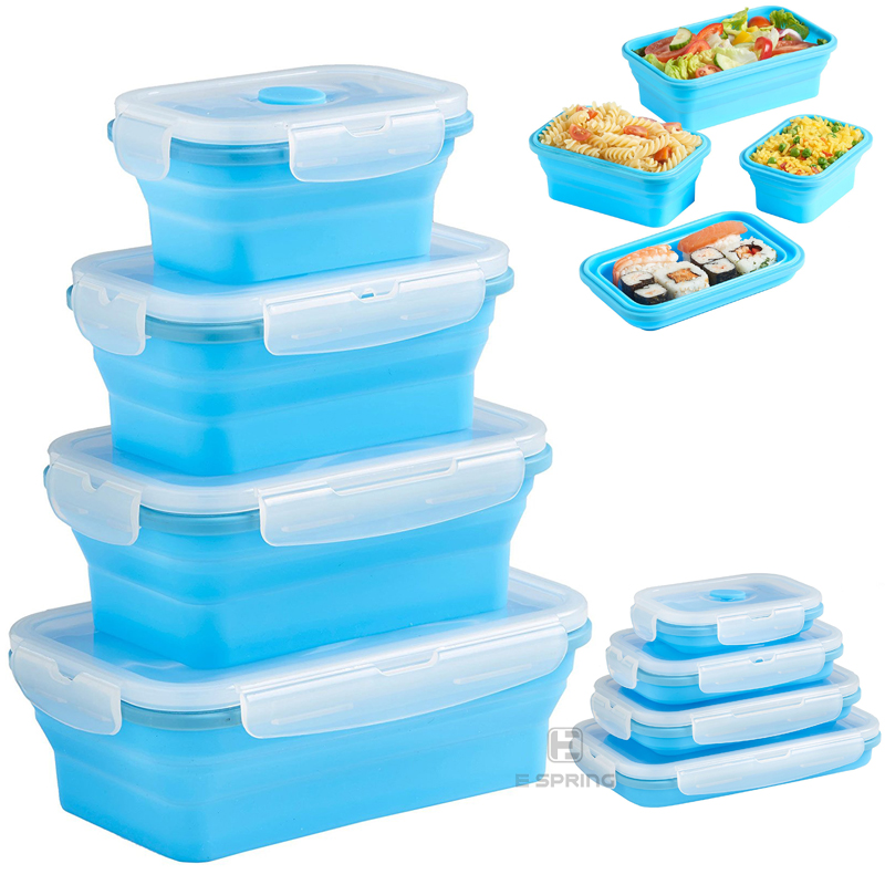 Microwavable Silicone Food Storage Containers Collapsible Lunch Box