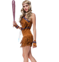Halloween Indians Native Costume COS Uniform Set Tassel Savage Forest Hunter Costume