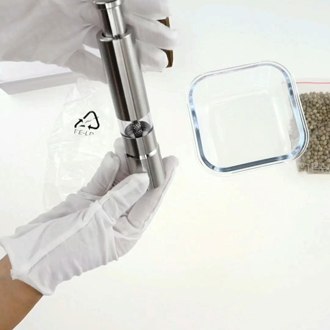 פרימיום נירוסטה מלח ופלפל מטחנות סט של 2-מוברש נירוסטה מטחנת פלפל ומלח מיל