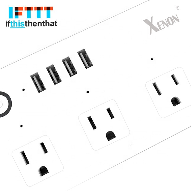 Xenon WiFi Smart Power Surge Protector Remote Control US Standard Power Strip 2 USB port support Tuya IFTTT voice control