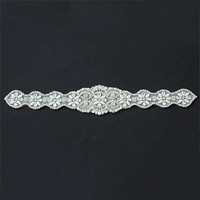 High Quality Crystal Beads Applique Trim Iron on Rhinestone and Pearl Bridal Belt for Wedding Dress