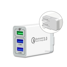 QC 3.0 Cepat <span class=keywords><strong>Charger</strong></span> 3 Port USB Travel <span class=keywords><strong>Charger</strong></span> CE FCC <span class=keywords><strong>RoHS</strong></span> Bersertifikat USB Dinding <span class=keywords><strong>Charger</strong></span>