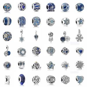 100%925 sterling silver jewelry charm Blue series Beading Bracelet accessories Pendant