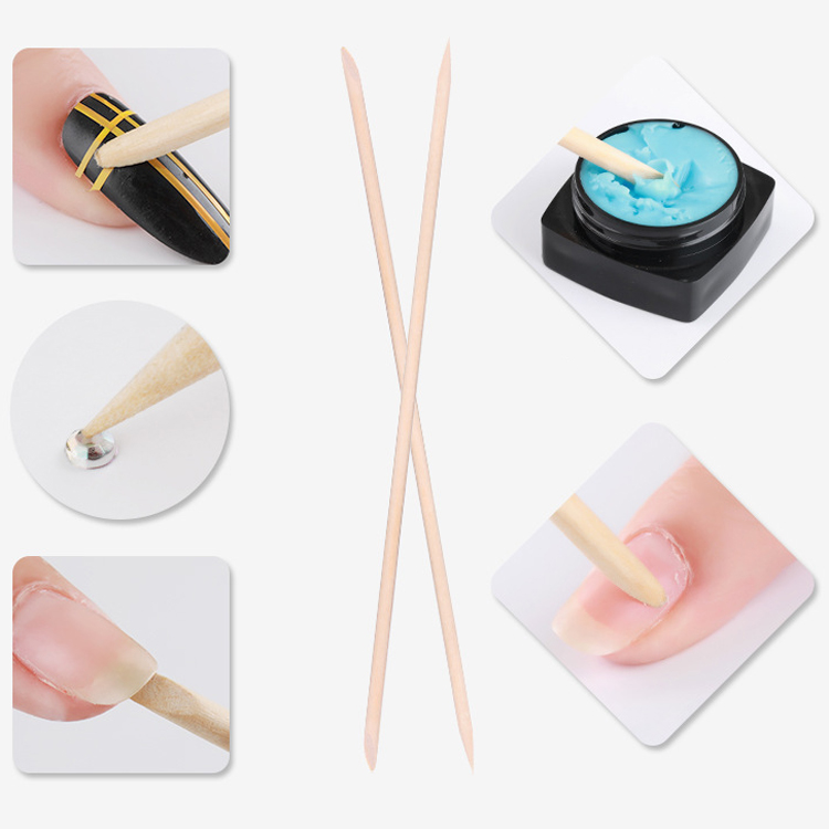 Disposable eco-friendly double ended nail art tools manicure cuticle 100pcs/bag nail wood stick mini wooden nail sticks