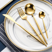 Reusable 4pcs flatware knife fork spoon set stainless steel wedding cutlery set gold/stainless steel flatware set