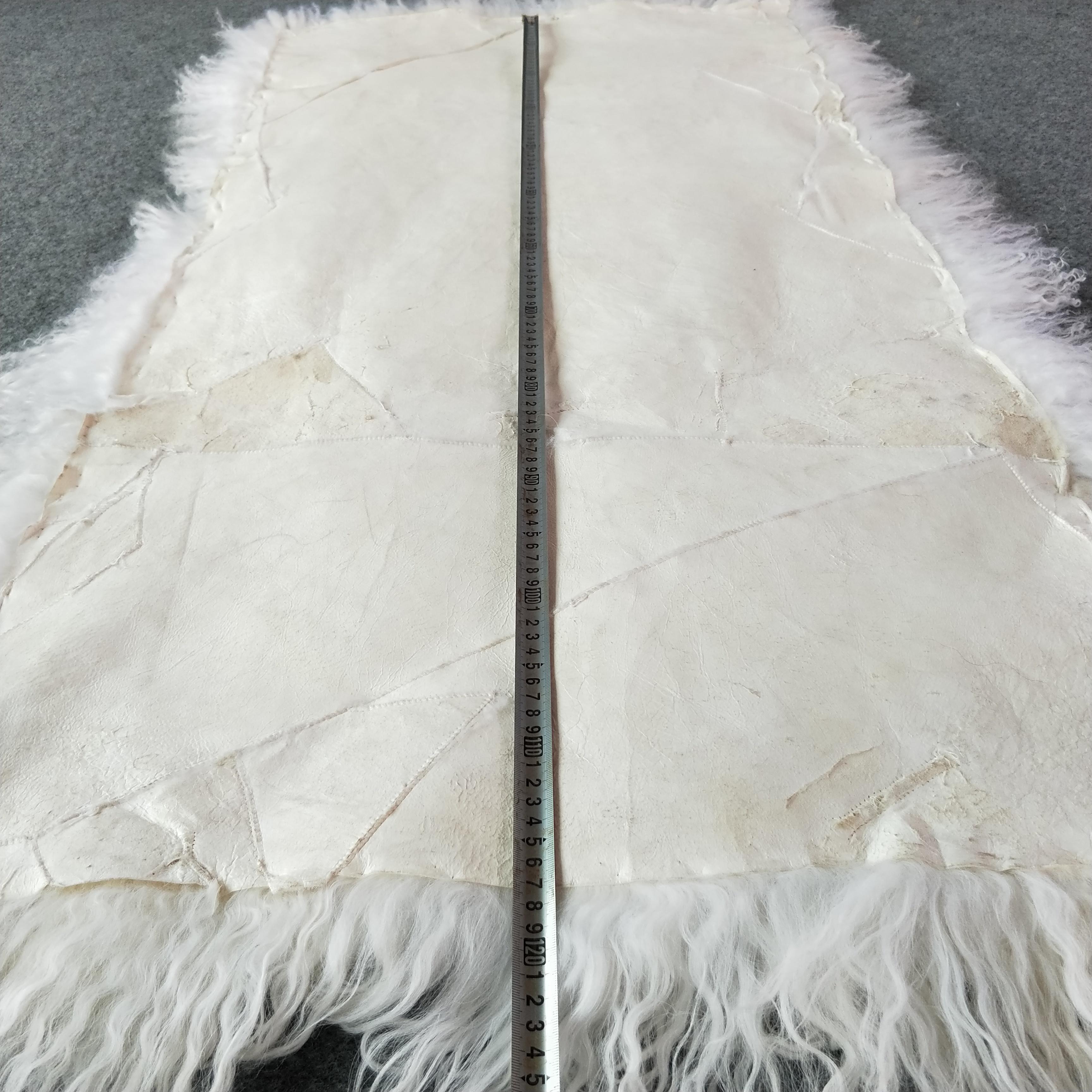 Long hair mongolian lamb fur rug real sheep fur blanket curly goat fur plate