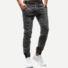 New Designs Pant Jeans Grey Plus Size Drawstring Waist Solid Jeans for men